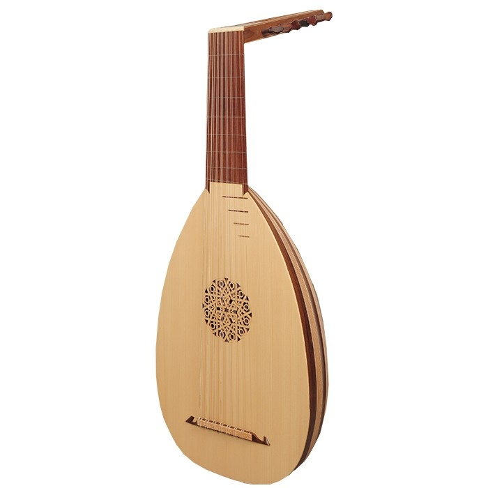 Music house princedeluxe lute, 8 course variegated walnut lacewood -0