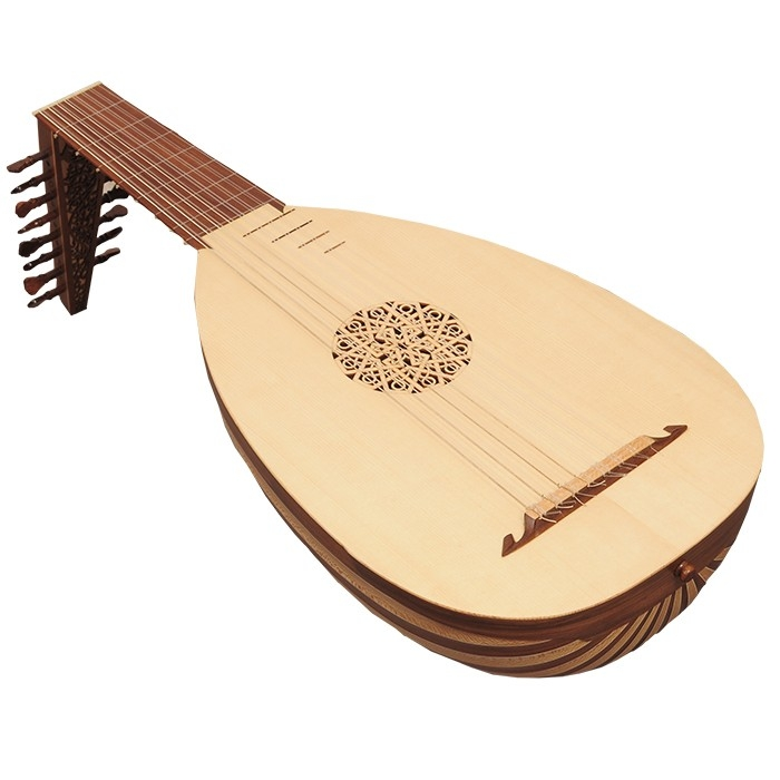 Music house princedeluxe lute, 8 course variegated walnut lacewood -85