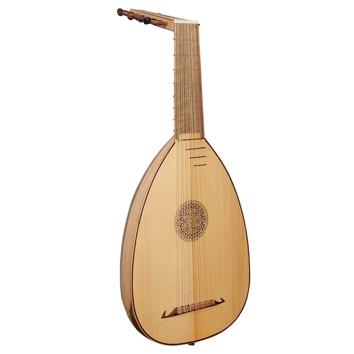 Music house princedescant lute, 7 course variegated walnut and lacewood -0
